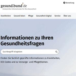Screenshot Startseite gesund.bund.de
